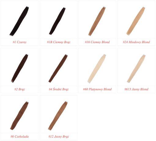 Taśmy TAPE ON Zestaw 40-50-60 cm Włosy EUROPEJSKIE 100% NATURALNE