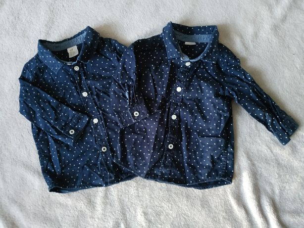 Koszule w groszki h&m bliźniaki dla bliźniąt koszula 68 kropki granat