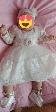 Sukienka do chrztu koronkowa 68-74 kpl.do chrztu