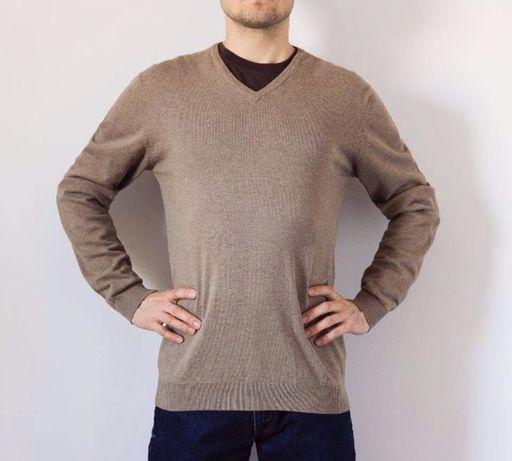 Swetr męski Angelo Litrico-L brązowy beżowy bawełniany w serek