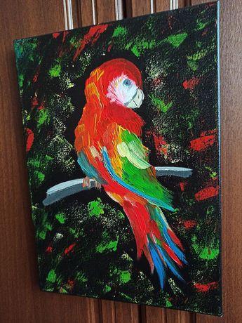 Картина маслом попугай