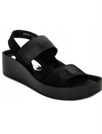 FILIPPO czarne sandały z gumkami 37 skóra naturalna jak Birkenstock