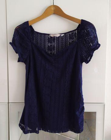 Bluzka ciążowa S granatowa Dorothy Perkins koronka 36 ubrania odzież