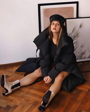 Куртка зимова, чорна на зав'язках