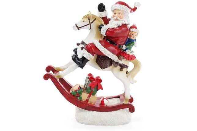 Статуэтка Санта на лошади с LED-подсветкой Лошадка качалка