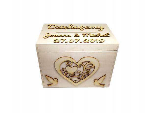 Skrzynka drewniana na koperty weselne ślub wesele pojemnik na koperty