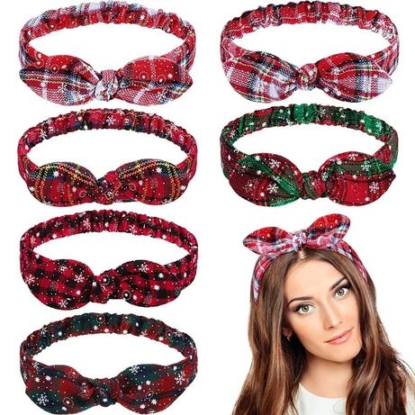 Повязка на голову обруч ободок новогодний с бантом бантиком