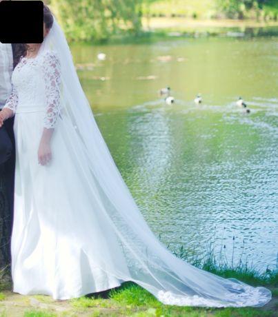 Śliczna, koronkowa/gipiurowa - satynowo, biała suknia ślubna