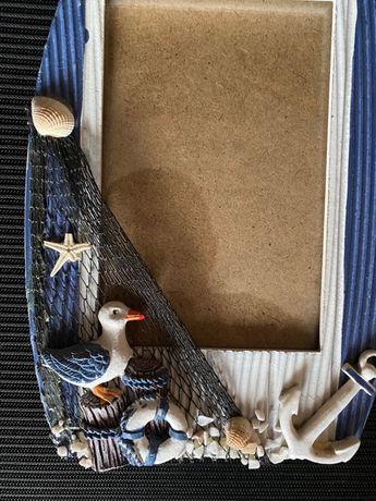 Ramka na zdjęcia motyw morski muszle wakacje