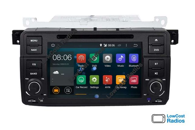 MEGA PROMOÇÃO: Rádio GPS Android 10 — BMW E46 c/ Wifi, DVD, BT e USB