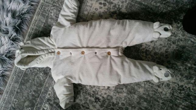 Kombinezon niemowlęcy 3-6 mc biały miś