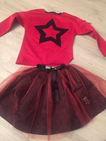 Komplet czerwony święta spódnica tiul jak nowy