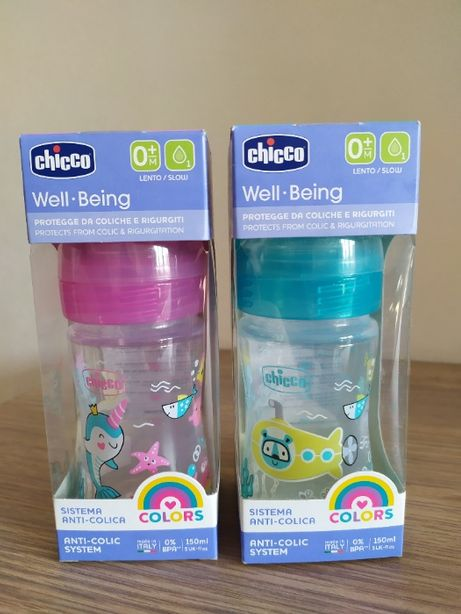 Детская бутылочка Well Being Colours Chicco 150 мл 0м+
