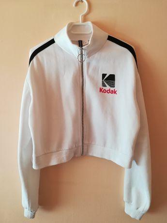 biała krótka bluza h&m kodak rozsuwana czarne lampasy S