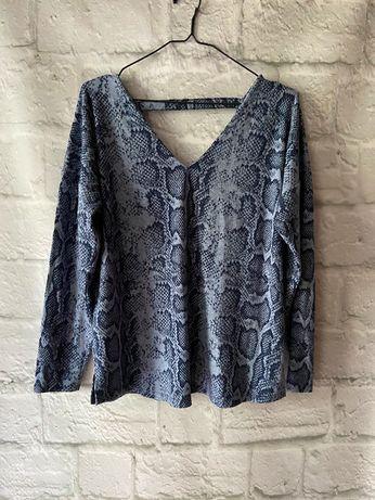 niebieska granatowa wzorzysta bluzka sweter z wycięciem jesienna 44 16