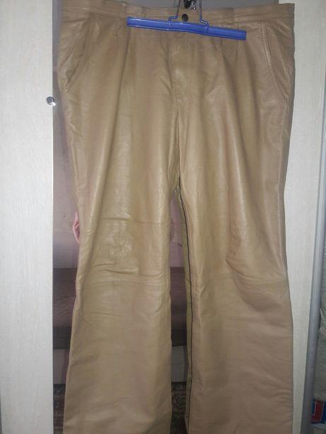 Кожаные брюки штаны бежевые
