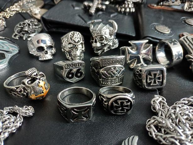 Sygnet pierścień czaszka krzyż maltański rock metal  chopper Harley D