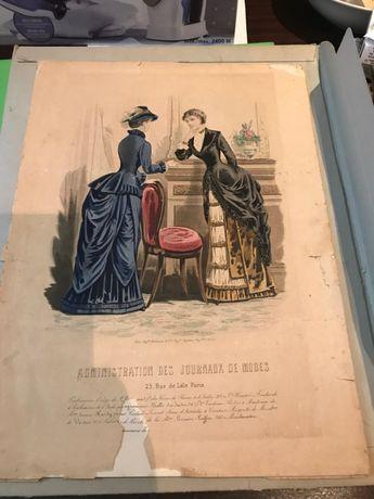 Gravuras iluminadas da moda Francesa 1883 - Belle Époque