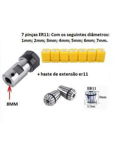 7 pinças ER11 1-7mm com haste de extensão para eixo de 8mm.
