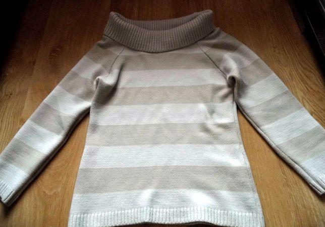 Damski sweter w paski z wywijaną górą, rozmiar S