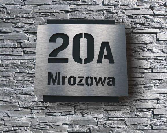 Numer domu - tabliczka na dom ulica numer . ALU szczotkowane Antracyt