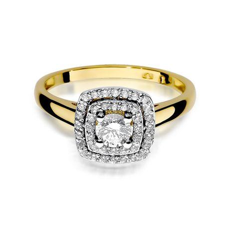 Zaręczynowy złoty pierścionek 585 z BRYLANTAMI -20% rabatu !!