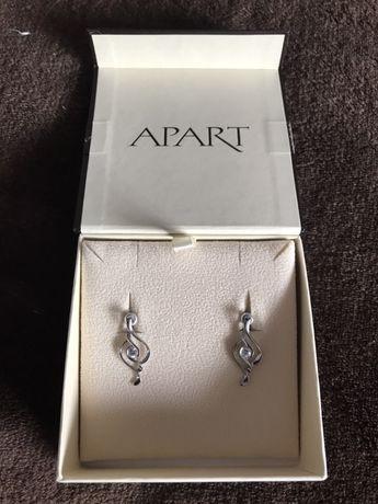 Eleganckie srebrne kolczyki Apart + pudełko