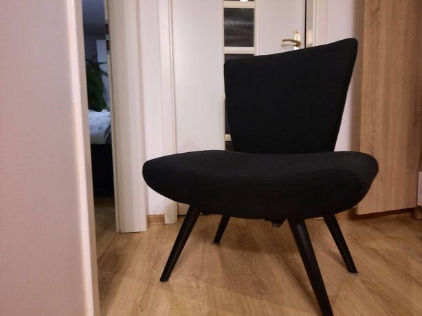Fotel czarny w stylu retro, stylowe krzesło vintage, duży fotel