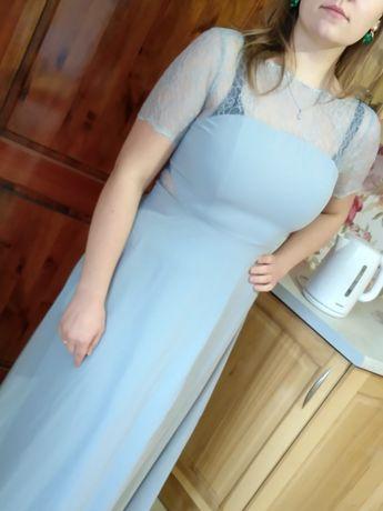 Sukienka długa siwa rozkloszowana koronka