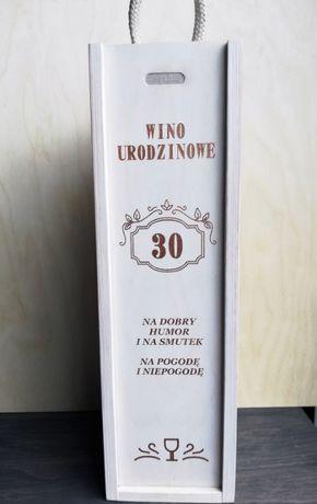 Pudełko Skrzynka na wino złote napisy 30 40 50 urodziny ślub imieniny