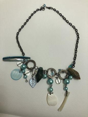 Naszyjnik kamienie perły kryształki lazur błękit 45cm