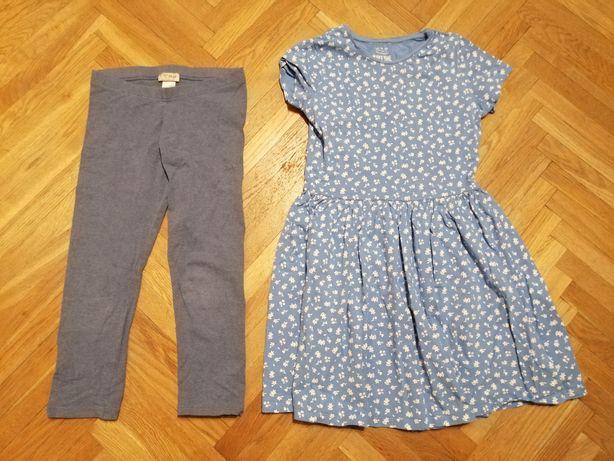 Letnia sukienka i getry 3/4, rozm 146-152cm