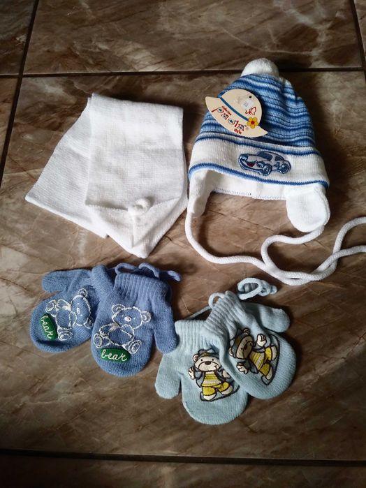 Nowy komplet czapka szalik 68 74 dla chłopca gratis rękawiczki Siewierz - image 1