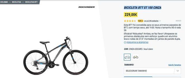 bicicleta btt st 100 cinza utilizada 1x
