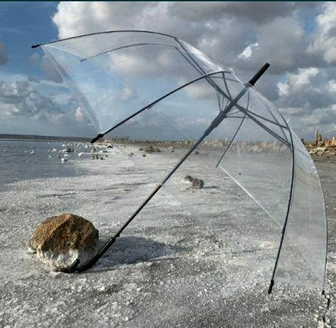 Прозрачный зонт трость clear прозорий силиконовый