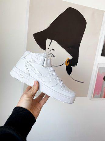 Кроссовки белые черные Зима Nike Air Force High White Найк Аир Форс