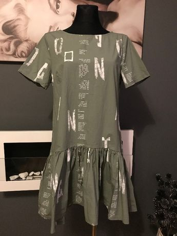 Sukienka Oliwkowa Napisy Oversize