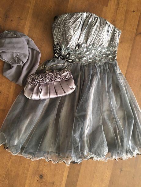 Шикарное коктельное платье+ шарф накидка+сумочка на стройную девушку.