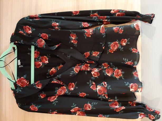 Bluzka HM r. 38 czarna w róże stan idealny