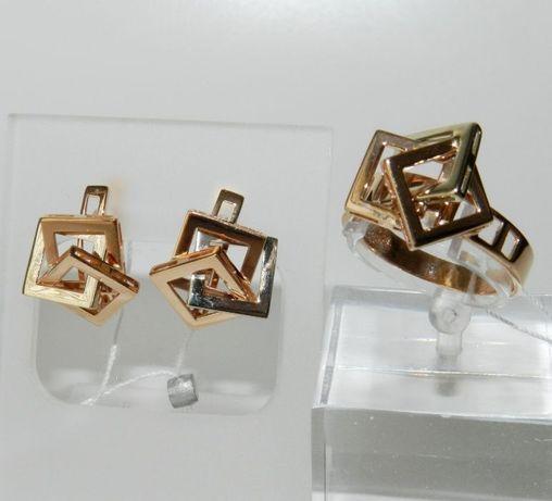"""Гарнитур Золото 585 серьги и кольцо """"Кубы"""""""