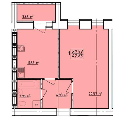 32000$ ЖК Левада-2 Дешевле нет! 1 комнатная квартира 43 м2. SA