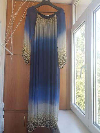 Шикарное новое итальянское платье сине- леопардовое. Р.48-52
