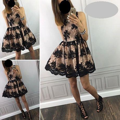 Koronkowa sukienka rozkloszowana XS EMO