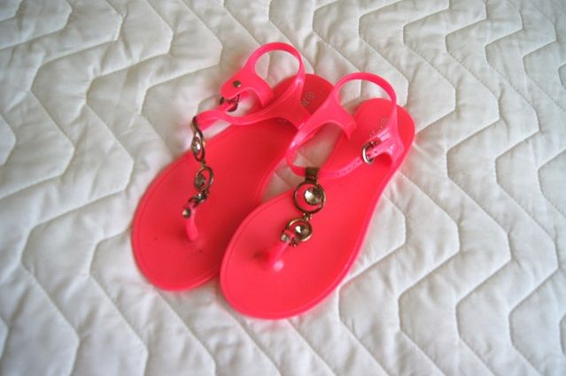 rozowe neonowe sandalki japonki letnie 39 sandały klapki