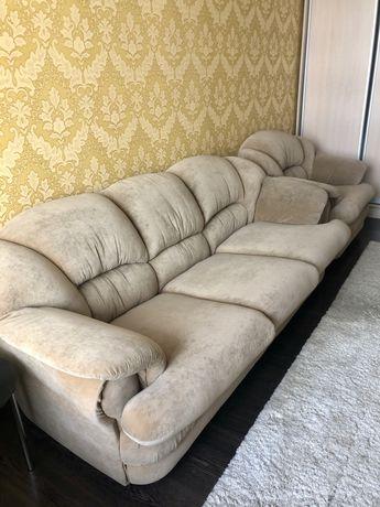 Замшевый инальянский комплект диван и кресла