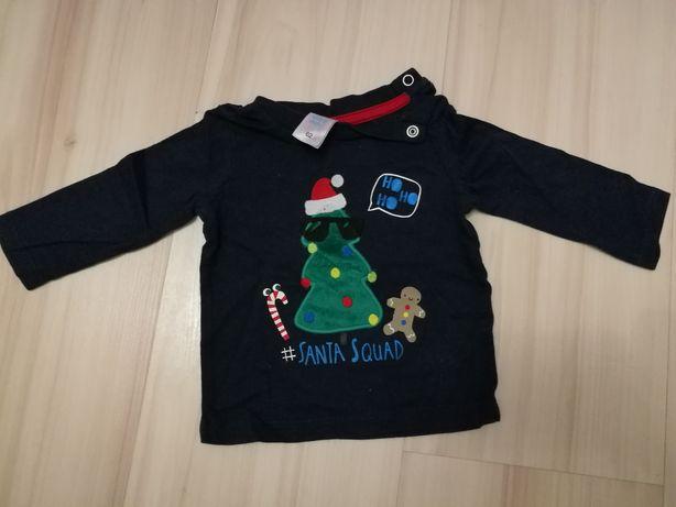 C&A bluzka bluzeczka długi rękaw świąteczna boże narodzenie 56/62 0-3