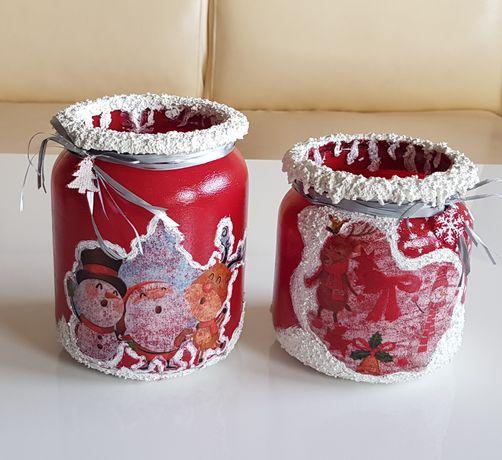 Słoiki dekoracyjne / świeczniki / handmade/ Boże Narodzenie