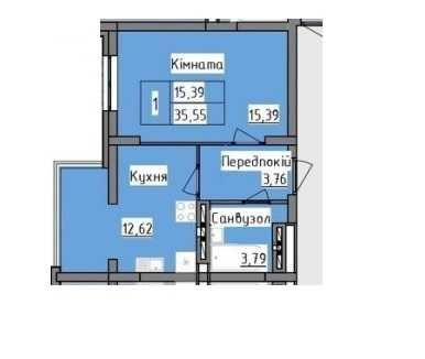 Продам 1 кім.  квартиру  35м.кв.
