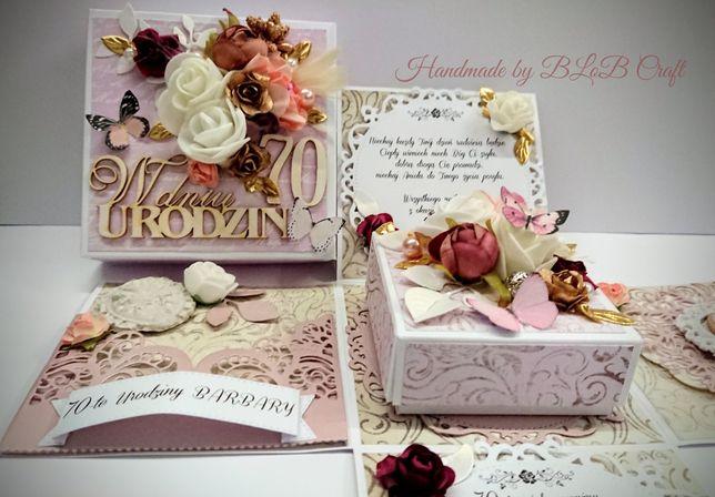 Exploding box pudełko kartka ręcznie robiona na urodziny