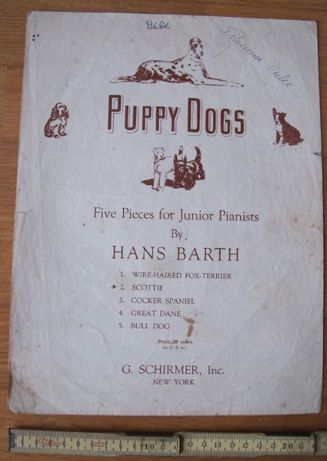 Partitura Musical Piano Antiga - Puppy Dogs - Scottie